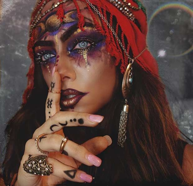 Gypsy Fortune Teller Halloween Makeup Idea                                                                                                                                                                                 More