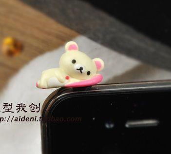 cute bears 3.5mm dustplug alloy diy bling phone deco D21 | chriszcoolstuff - Craft Supplies on ArtFire
