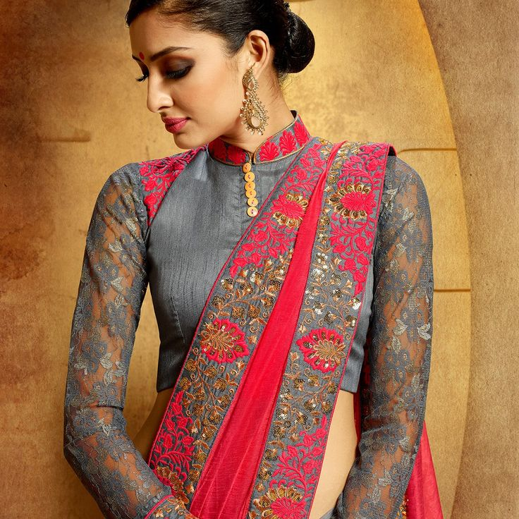 Georgette Zari Work Pink & Grey Half & Half Saree - A302