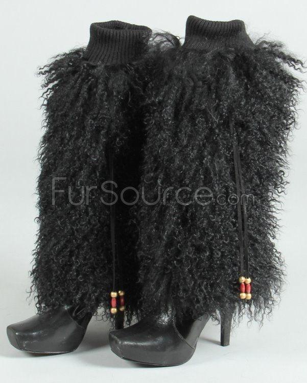 Fur Leg Warmers -Black Mongolian Lamb Fur