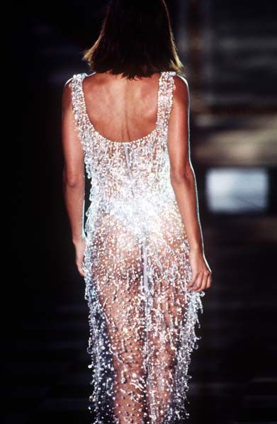 ATELIER VERSACE - Fall Winter 1995 1996 - Paris Fashion Week - Ritz Hotel, July 1995. - Helena Christensen