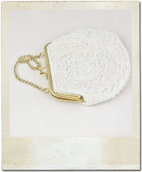 Cream Vintage Beaded Bridal Bag