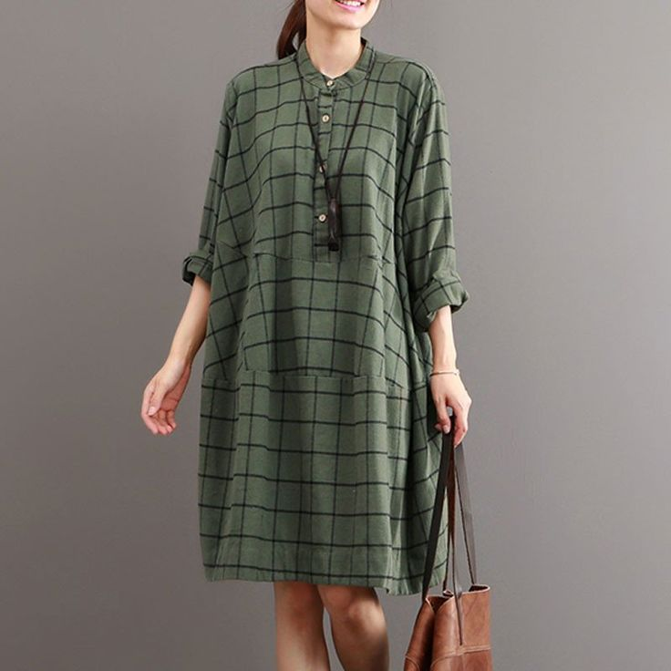 Autumn Casual Loose Stitching Plaid Green Dress