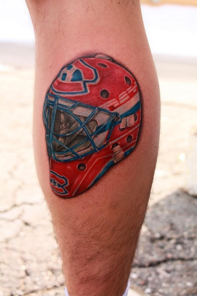 Featured in The Hockey News magazine. Patrick Roy helmet on Mike - By Mike Magee mikemagee@hotmail.com - www.drowninginink.com