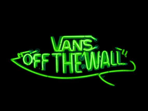 Photograph Of A Vans Off The Wall Neon Sign Dark Green Aesthetic Purple Aesthetic Green Aesthetic
