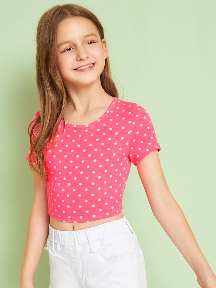 Girls Neon Pink Polka Dot Crop Top in 2020 | Polka dot ...