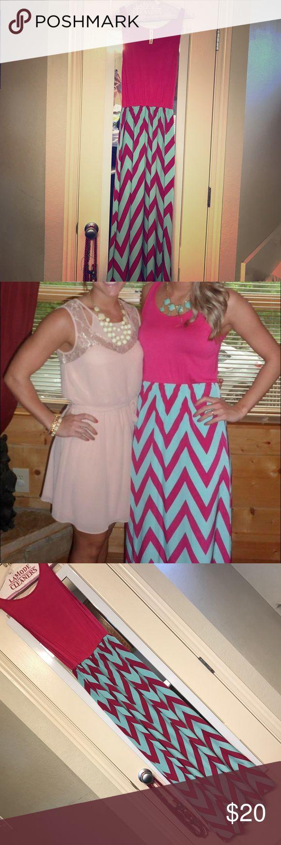 Maxi Dress Pink and blue chevron maxi dress Vanilla Bay Dresses Maxi