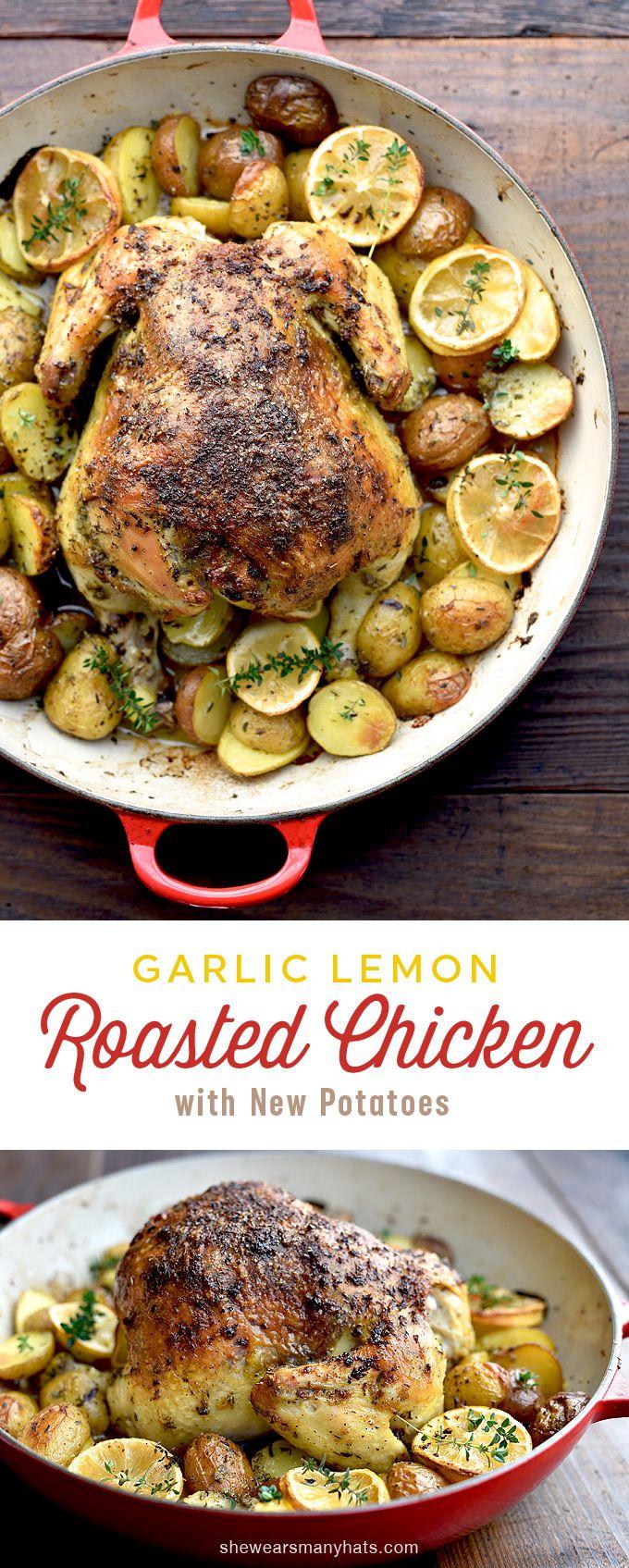 Roasted Garlic Lemon Chicken and Potatoes Recipe   shewearsmanyhats.com