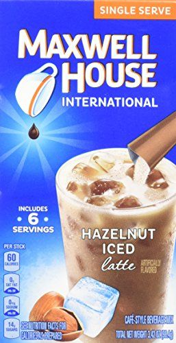 Maxwell House Beverage Mix, Cafe-Style, Iced Latte, Single Serve, Hazelnut, 3.4 oz (Pack of 8) -- Check out the image by visiting the link.