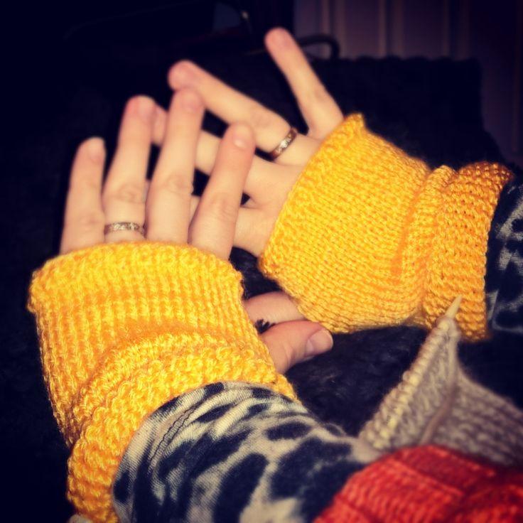 Homemade fingerless mittens :) Knitted sunshine for the cold season :)