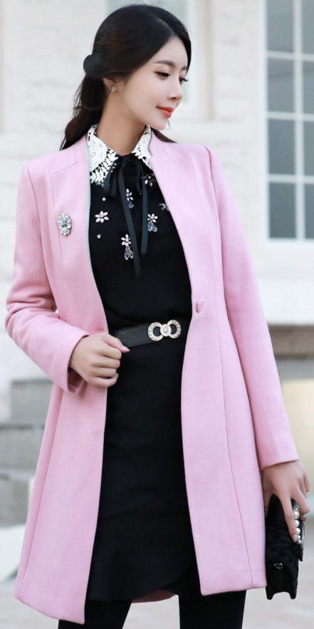 StyleOnme_A-Line Silhouette Belted Coat #pink #cute #coat #koreanfashion #kstyle #kfashion #seoul #dailylook #feminine #autumnlook