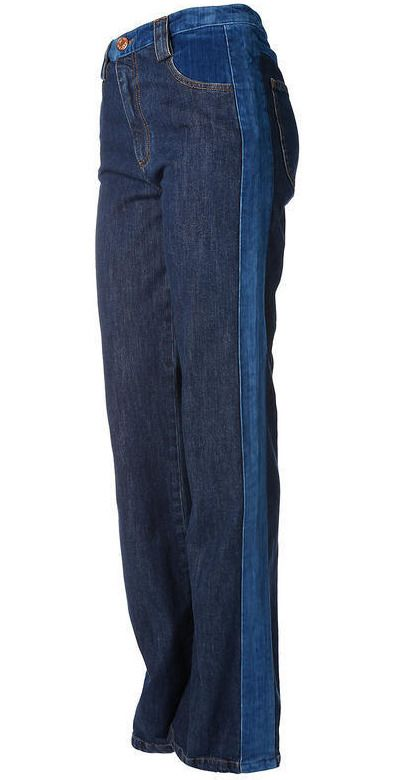 05f48481 SEE BY CHLOE SCD Washed Indigo Denim & Velvet Flared Retro Jeans Size 30 # fashion