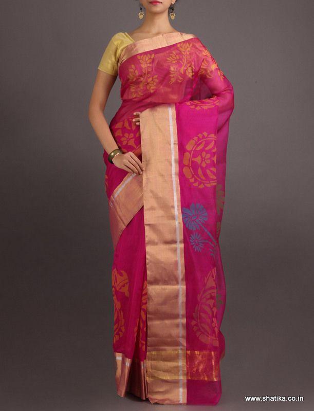 Madhuti Cool Pink #ChanderiBlockPrintedSaree