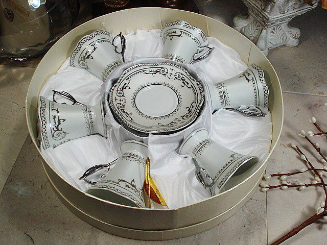 12 pc Espresso Set w/ Hat Box Deco Silver - Wholesale Favors