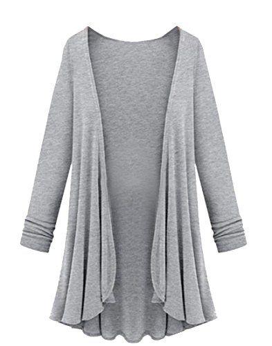 Zimaes Women's Basic Plus-size Long Sleeve Cardigan