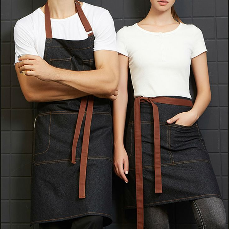 Half/Full Length Black Denim Bib Apron Barista Florist Bartender Chef Workwear Baker Salon Cafe Bistro Diner Hotel Uniforms B51