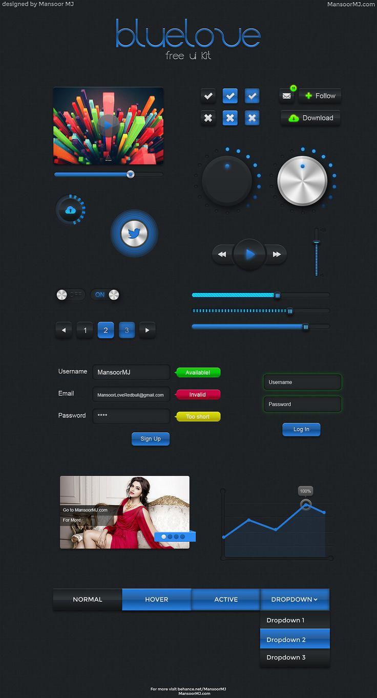 BlueLove - Free UI Kit