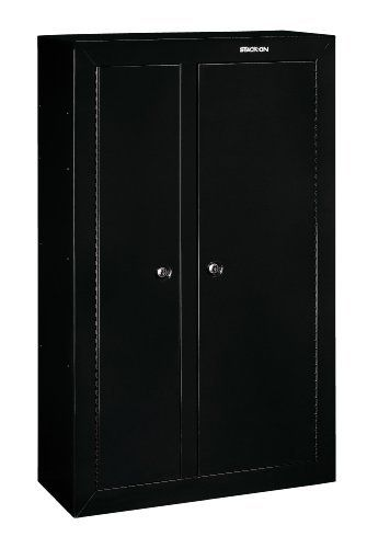 Stack-On GCDB-924 10-Gun Double-Door Steel Security Cabinet by StackOn. $399.99. From the Manufacturer                Stack-On's Gun Cabinets feature welded, steel box construction and superior all steel 3 point locking system with double butted, key coded lock. Full length welded and staked steel piano hinge provides greater security. Also features Stack-On's patented, contoured non-marring barrel rest and barrel standoffs for scoped guns. Durable baked epoxy finish in black. Fl...