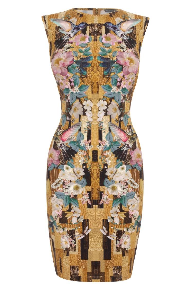 Alexander McQueen - Gold Geometric Hummingbird Print Pencil-Dress