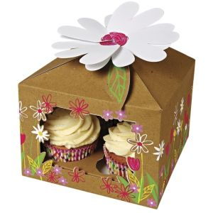 Cupcake boxes for 4 cupcakes - Little Garden Design - pack of 3