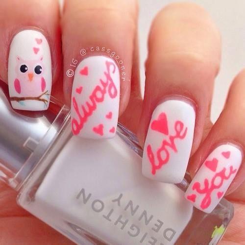 cute 'Always love you' valentine nail art