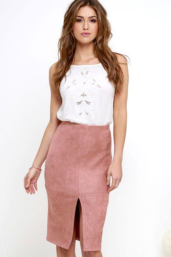 Glamorous Little Larkspur Mauve Suede Pencil Skirt at Lulus.com! $38