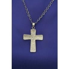 Hammered Cross Necklace - Bronze