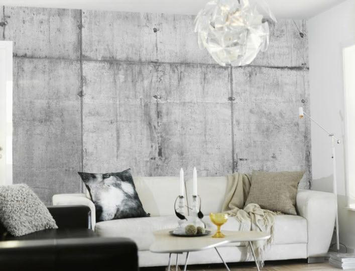 Behang in betonlook. Goed gemaakt