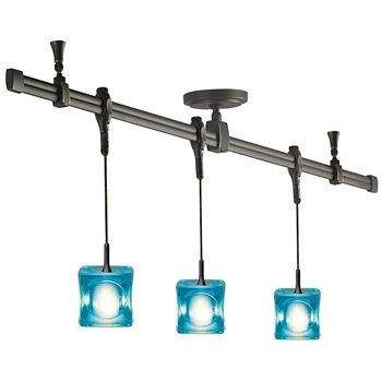 Nora Rail Kit NRS29-4411 with 4' Straight and (3) Pendant Assemblies with Mega Ice Cube Glass  Item# NRS29-4411  Regular price: $439.38  Sale price: $307.56