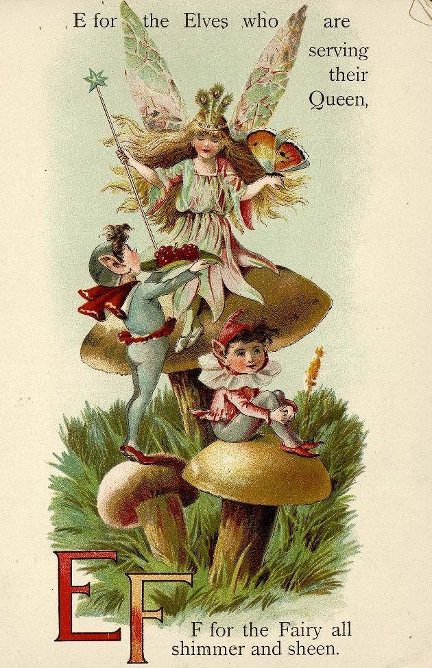 "Fairyland ABC - Father Tuck's ""Alphabet"" Series, 1902. ""E for Elves, F for Fairy"""