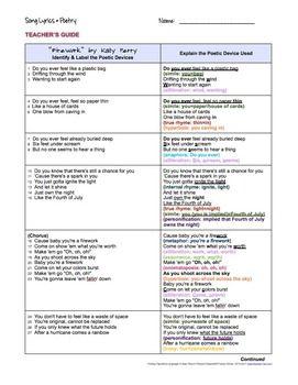 """FIREWORK"" BY KATY PERRY SONG LYRICS POETRY TERMS FIGURATIVE LANGUAGE - TeachersPayTeachers.com"