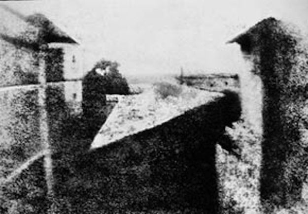 the first photograph (1826) -   Joseph Niepce, a French inventor and pioneer in photography, is generally credited with producing the first photograph. Niepce's photograph shows a view from the Window at Le Gras, and it  took eight hours of exposure time.