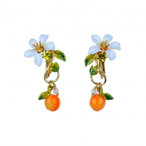 Boucles d'oreilles clip effet baroque orange et fleur d'orange