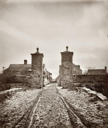 St. Augustine, Florida, circa 1865. The old City Gate.