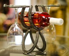 Lucky HorseShoe Wine and Glass Rack Rustic Wine Country Western Charm Equestrian log cabin barrel racing horseback riding drink glasses