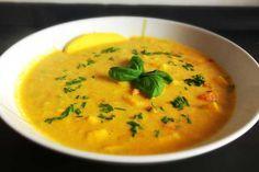 4* Karottensuppe mit Ingwer und Mango (+ Curry Scampis - lecker!)