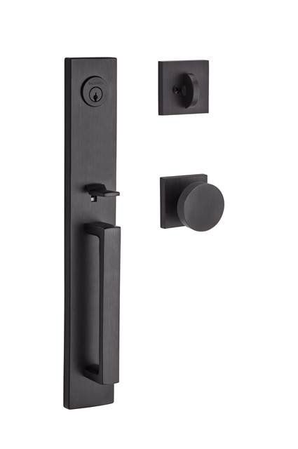 Santa Cruz Single Cylinder Handleset Cruz Contemporary Door Knob and Contemporary Square Rose