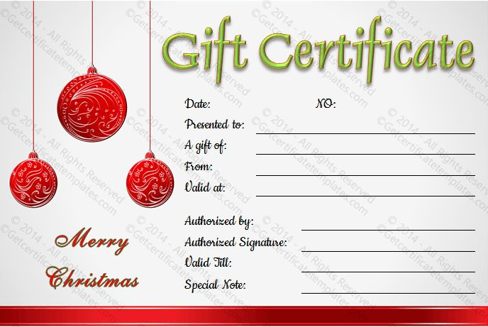 This Christmas balls gift certificate template can be easily - christmas gift certificates templates