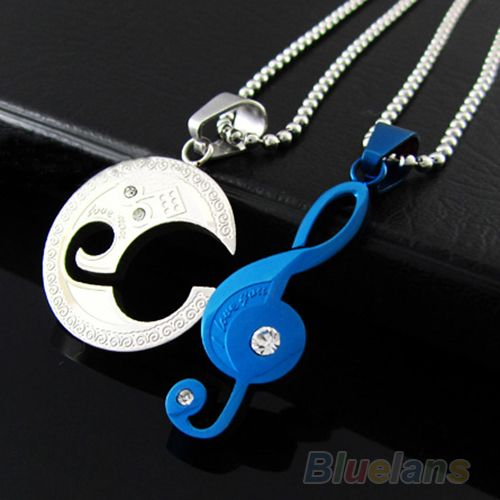 Women Men Lovers  Charms Jewelry Stainless Steel Couple Matching Music Note Pendant Necklace Set  1FF5