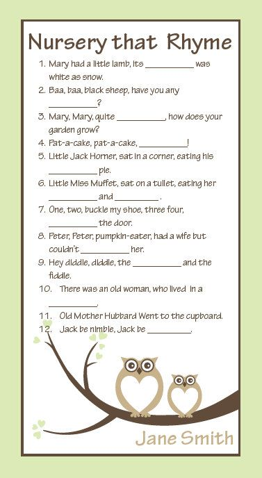 "Owls Baby Shower Game, Quiz, Baby Boy, Baby Girl, Nursery Rhyme Game, 6""x11"" by NestedExpressions, $30.00"