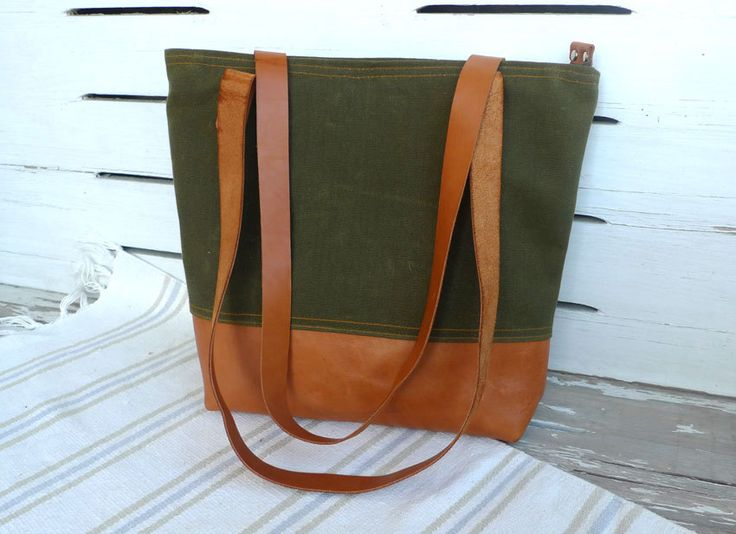 WATER PROOF Army Green Waxed Canvas Tote Bag with zipper and leather straps- Leather Bottom Diaper bag / Shoulder bag / Bags for School by ottobags on Etsy https://www.etsy.com/listing/125619248/water-proof-army-green-waxed-canvas-tote