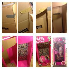 """DIY Barbie life size box-get a box w/ height Get """"wardrobe box"""" from a storage business that sells moving items. tape all top edges of the box to give it height  close the bottom in so it secures it while standing. On front draw a rectangular shaped window (to feature your life size Barbie). Carve w/ razor blade. use wrapping paper to decorate the outside and get a different paper to line the center backdrop of the box. Print logo or draw to Decorate  add props to cater to your theme!"""