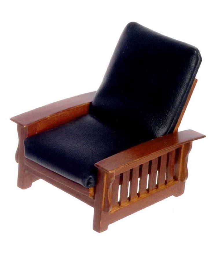 Dollhouse Miniature Chair, Craftsman Style, Black Leatherette #T6237 | Dolls & Bears, Dollhouse Miniatures, Furniture & Room Items | eBay!