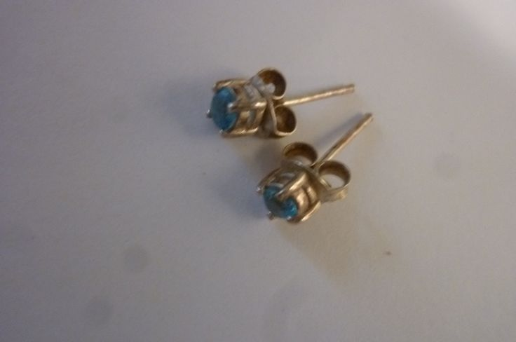 Vintage Blue Topaz Studs Sterling Silver Earrings with Sterling Posts Small Gemstones Starter Earrings 1980s by ZoomVintage on Etsy