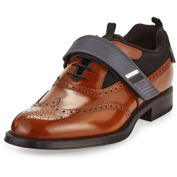 Prada Runway Hybrid Brogue Sneaker ($820) ❤ liked on Polyvore featuring men's fashion, men's shoes, men's sneakers, brown, men's shoes lace up shoes, mens brown wingtip shoes, mens brogue shoes, mens brown shoes, mens brown dress shoes and mens brown brogues