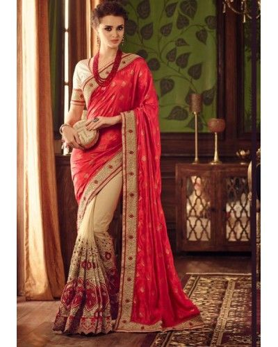 Beige & Red Embroidered Half n Half Saree