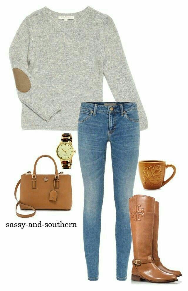 Casual y comodo.  Jeans, sweter gris, botas café o color camello.