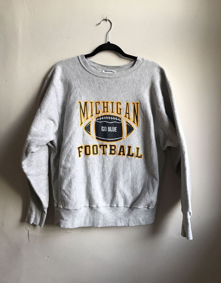Vintage Michigan Football Sweatshirt | Grey Campus Sweatshirt | Retro Michigan Football Top | Wolverine Fan | Sports Pullover | Workout Top by VintageBobbieMaude on Etsy