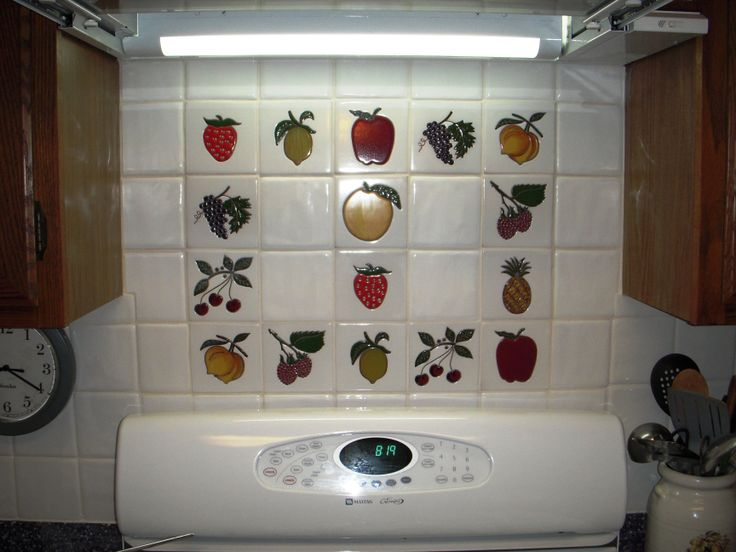 kitchen tiles with fruit design. backsplash with plain color tiles and talavera fruits designs. visit www.mexicantilesforsale. kitchen fruit design