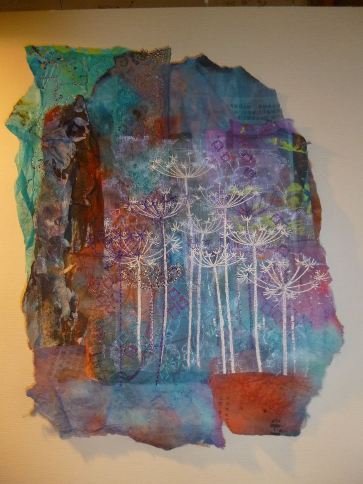 papers painted, printed and collaged, thermofax screen printing and machine stitching